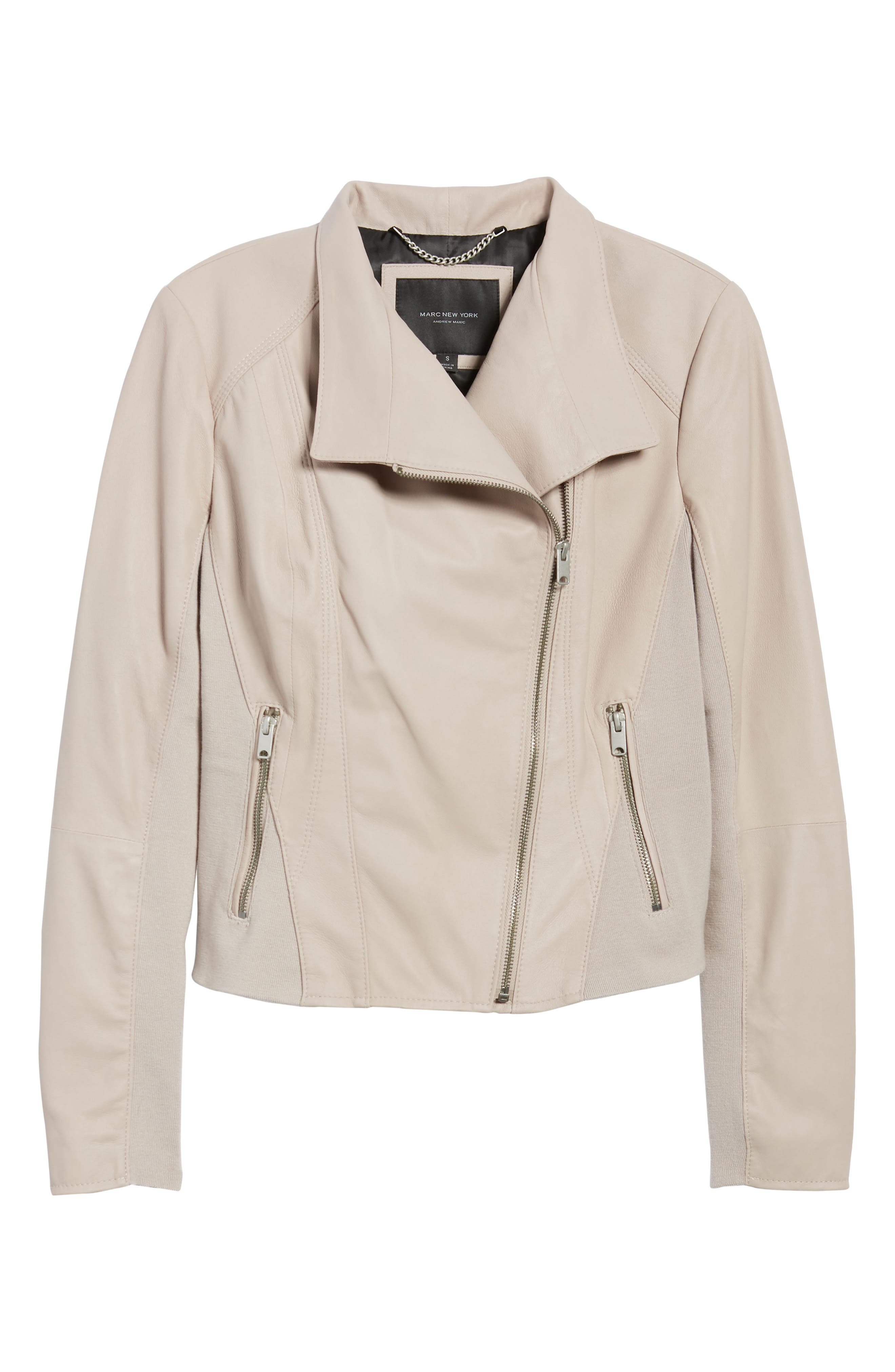 ,                             Marc New York by Andrew Marc Felix Stand Collar Leather Jacket,                             Alternate thumbnail 7, color,                             CEMENT