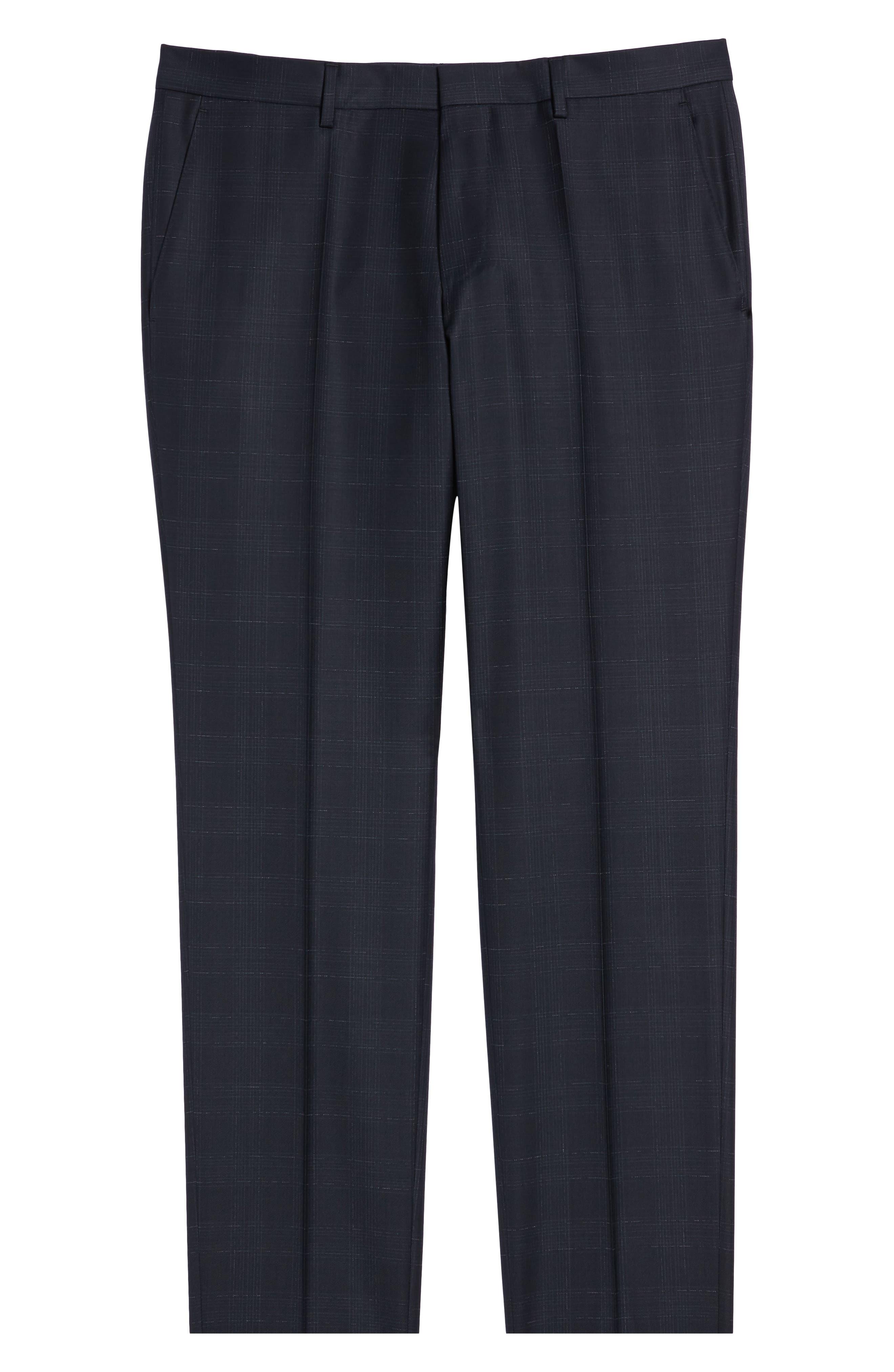 ,                             Genesis Flat Front Plaid Wool Trousers,                             Alternate thumbnail 12, color,                             411