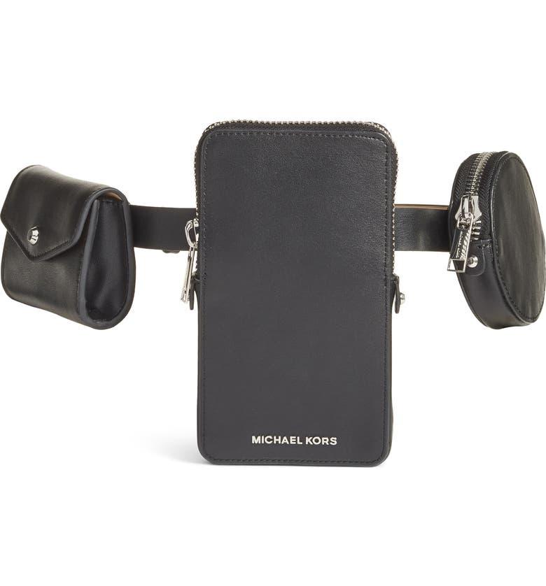 MICHAEL KORS Multi Pouch Leather Belt Bag, Main, color, 001