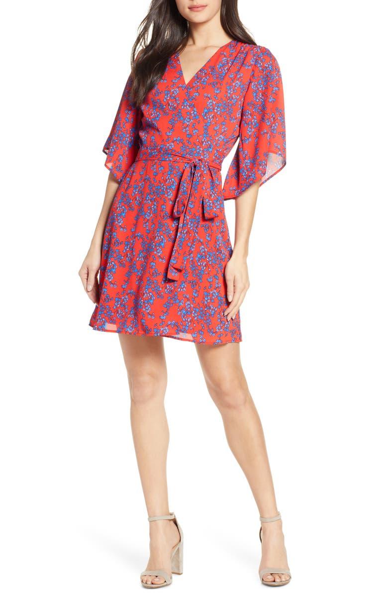CHARLES HENRY Floral Wrap Dress, Main, color, RED-BLUE FLORAL