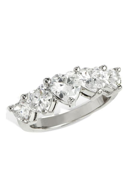 Image of Savvy Cie Sterling Silver Heart Cut CZ Band Ring