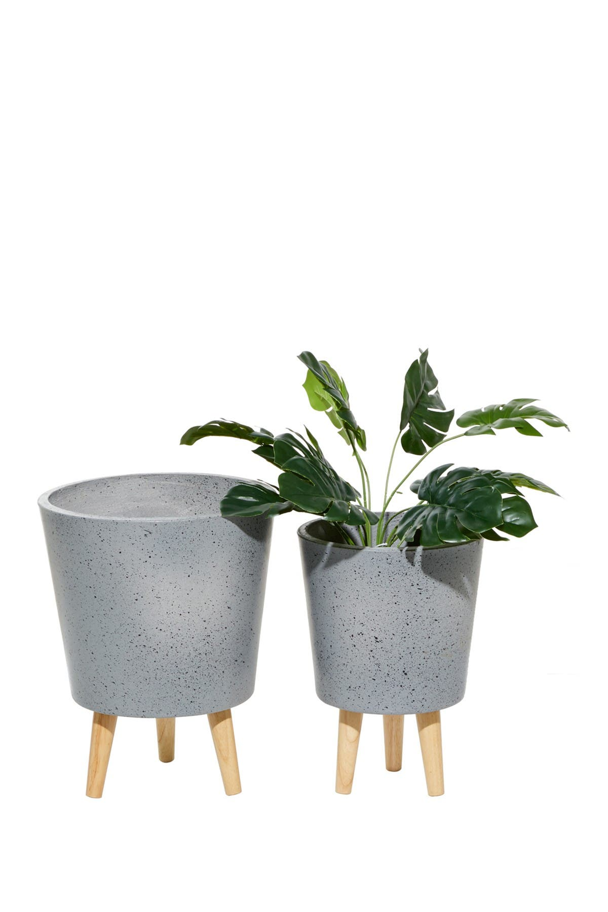 Image of Willow Row Grey Wood Contemporary Planter - Set of 2