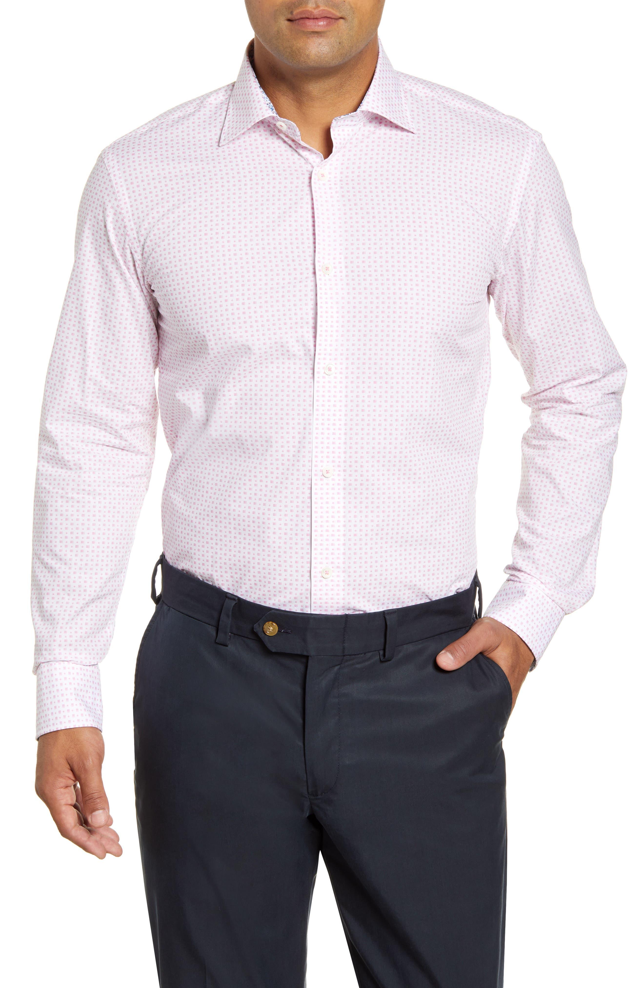 men's big & tall bugatchi trim fit geometric dress shirt, size 18 - pink