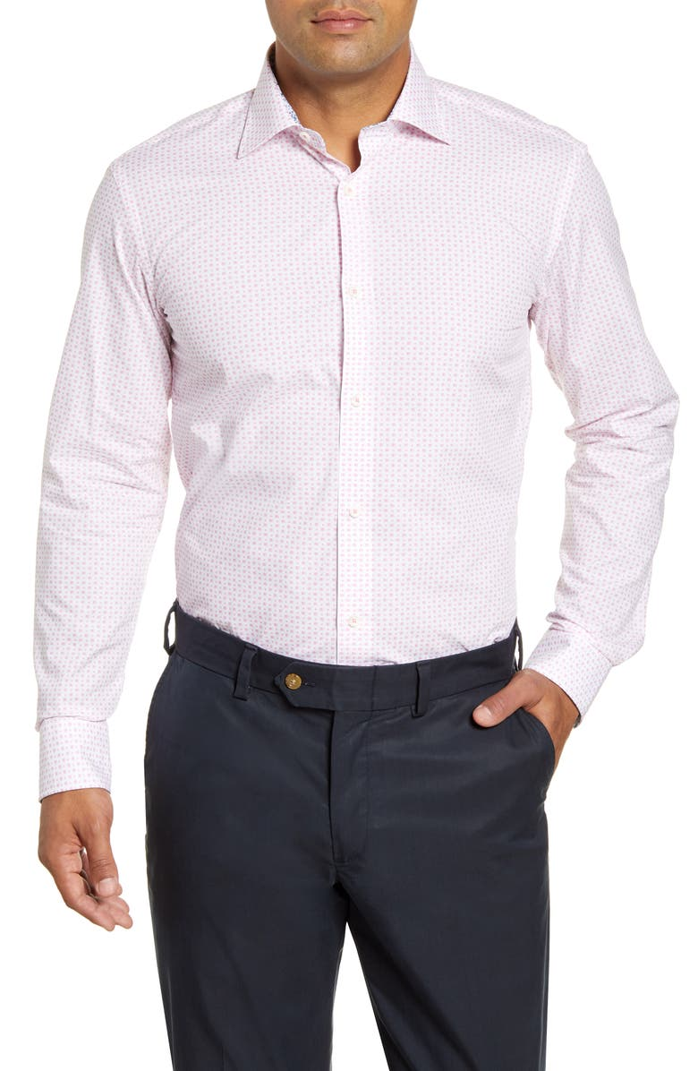 BUGATCHI Trim Fit Geometric Dress Shirt, Main, color, PINK