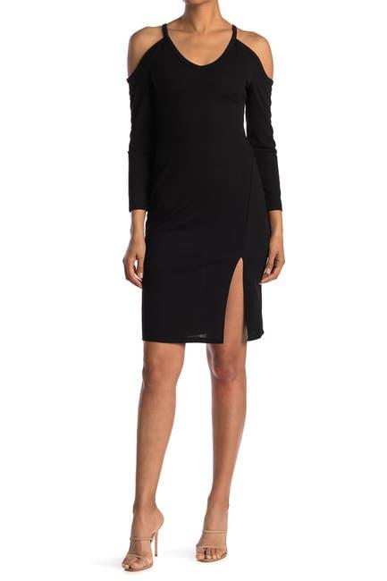 Image of MAX & ASH Cold Shoulder High Slit Dress