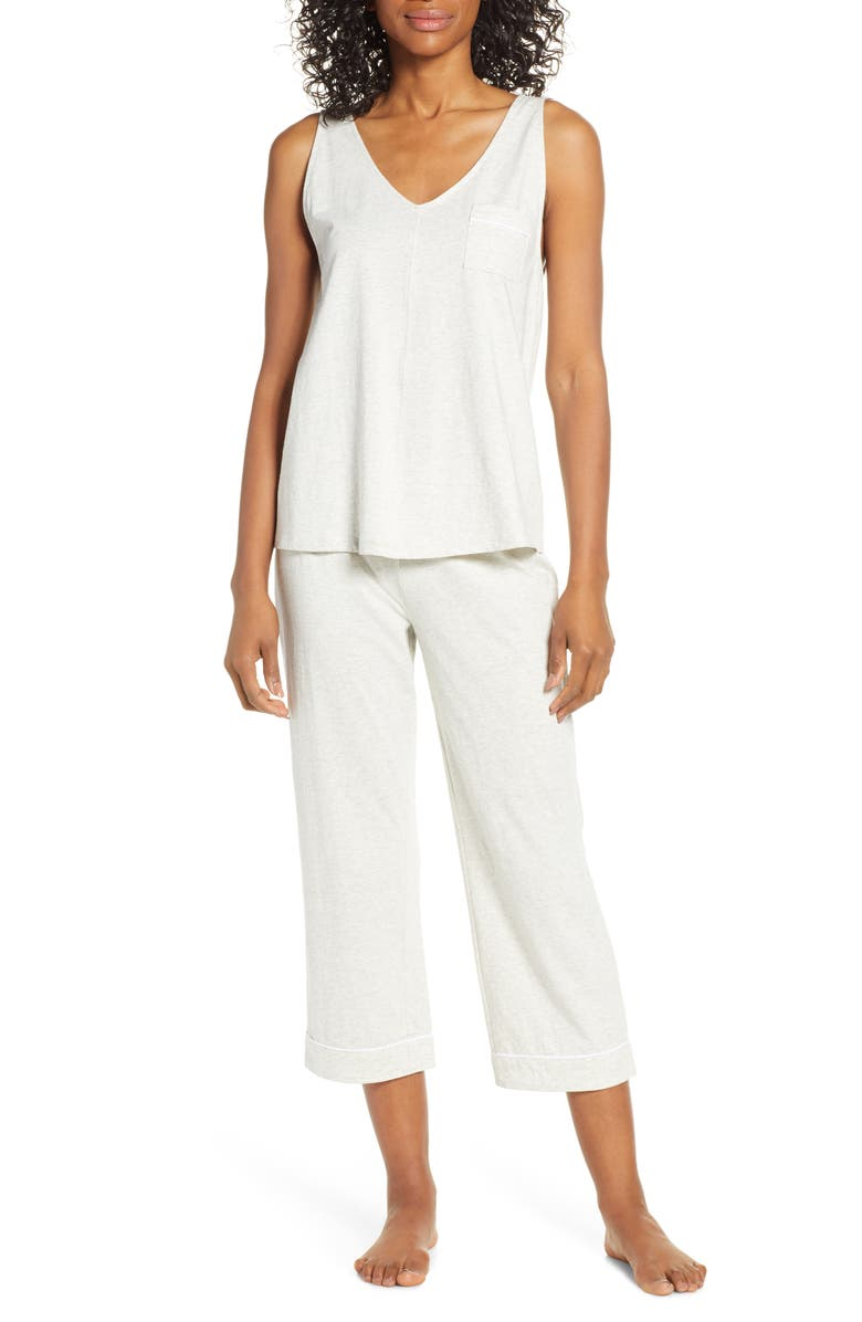 NORDSTROM LINGERIE Breathe Capri Pajamas, Main, color, GREY WOLF HEATHER