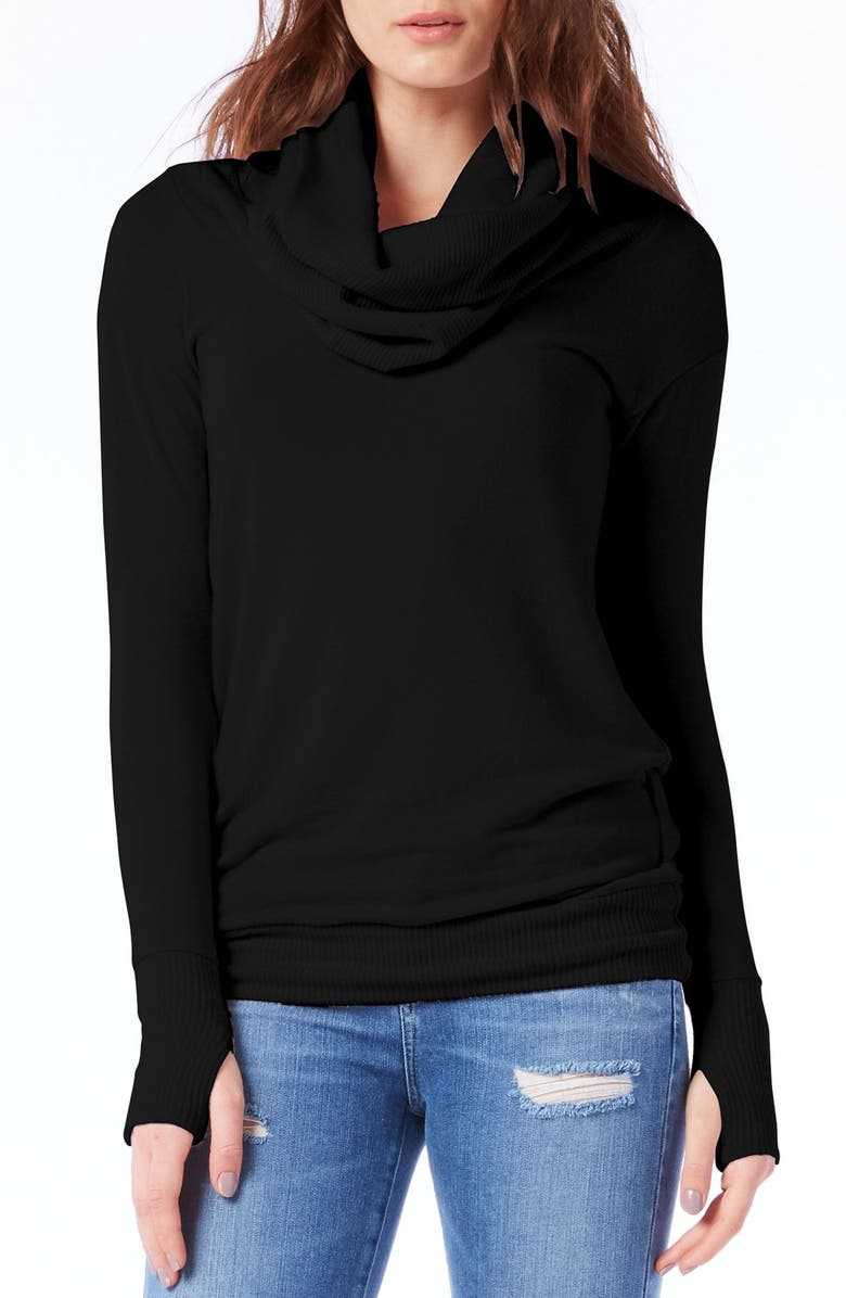MICHAEL STARS Thumbhole Cuff Cowl Neck Sweater, Main, color, 001