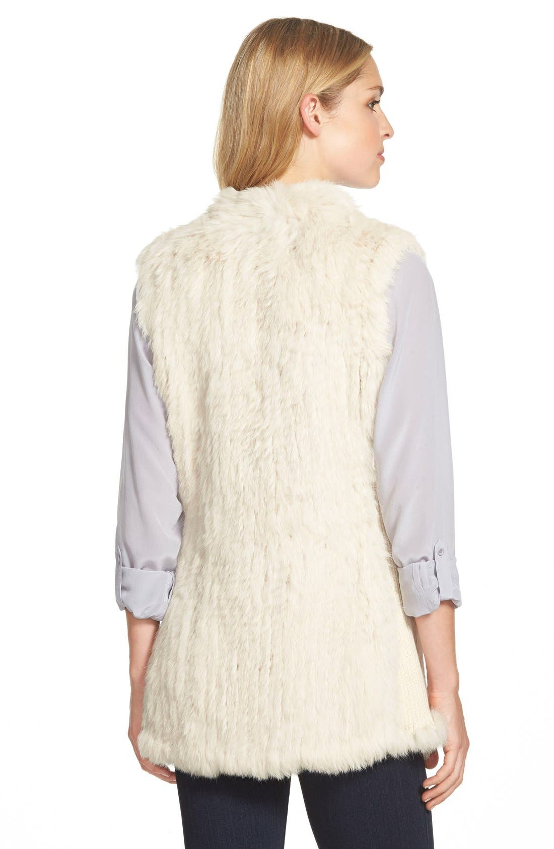 ,                             Genuine Rabbit Fur & Knit Vest,                             Alternate thumbnail 24, color,                             120