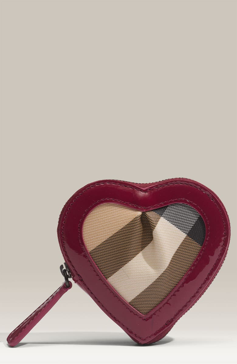 BURBERRY Zip Around Heart Shaped Coin Purse, Main, color, 651