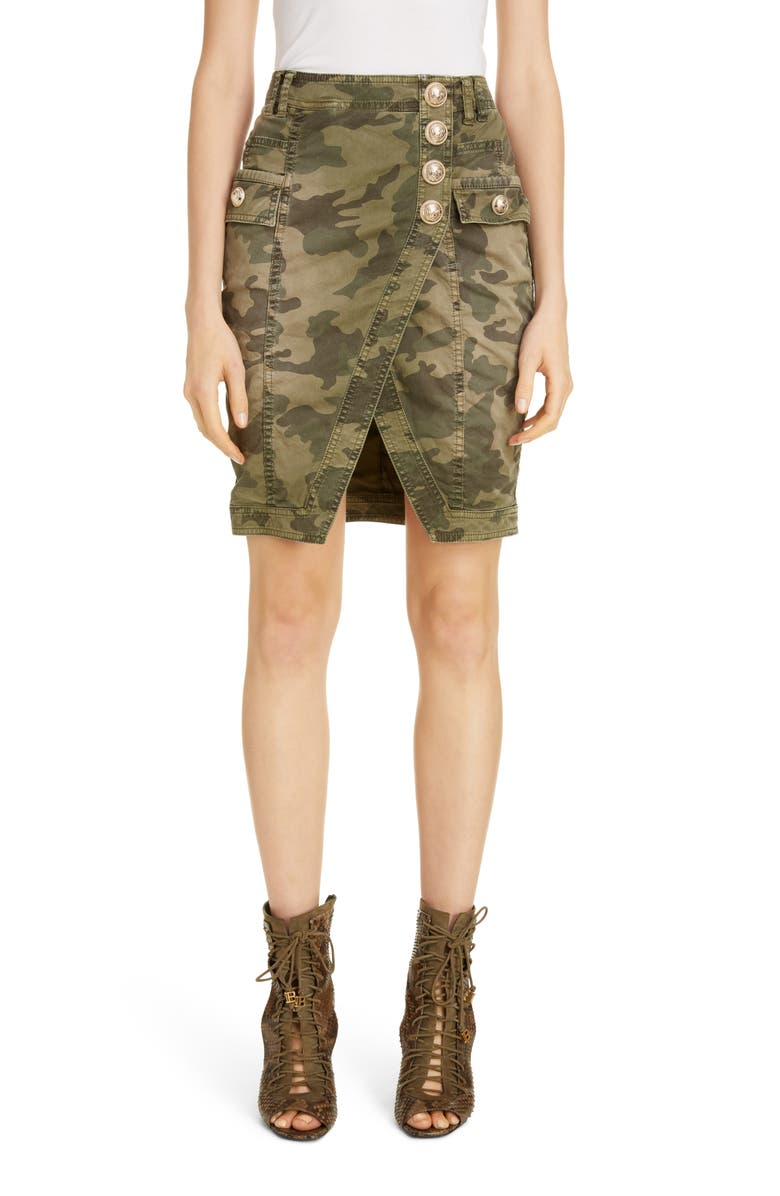 BALMAIN Camouflage Denim Faux Wrap Miniskirt, Main, color, KAKI