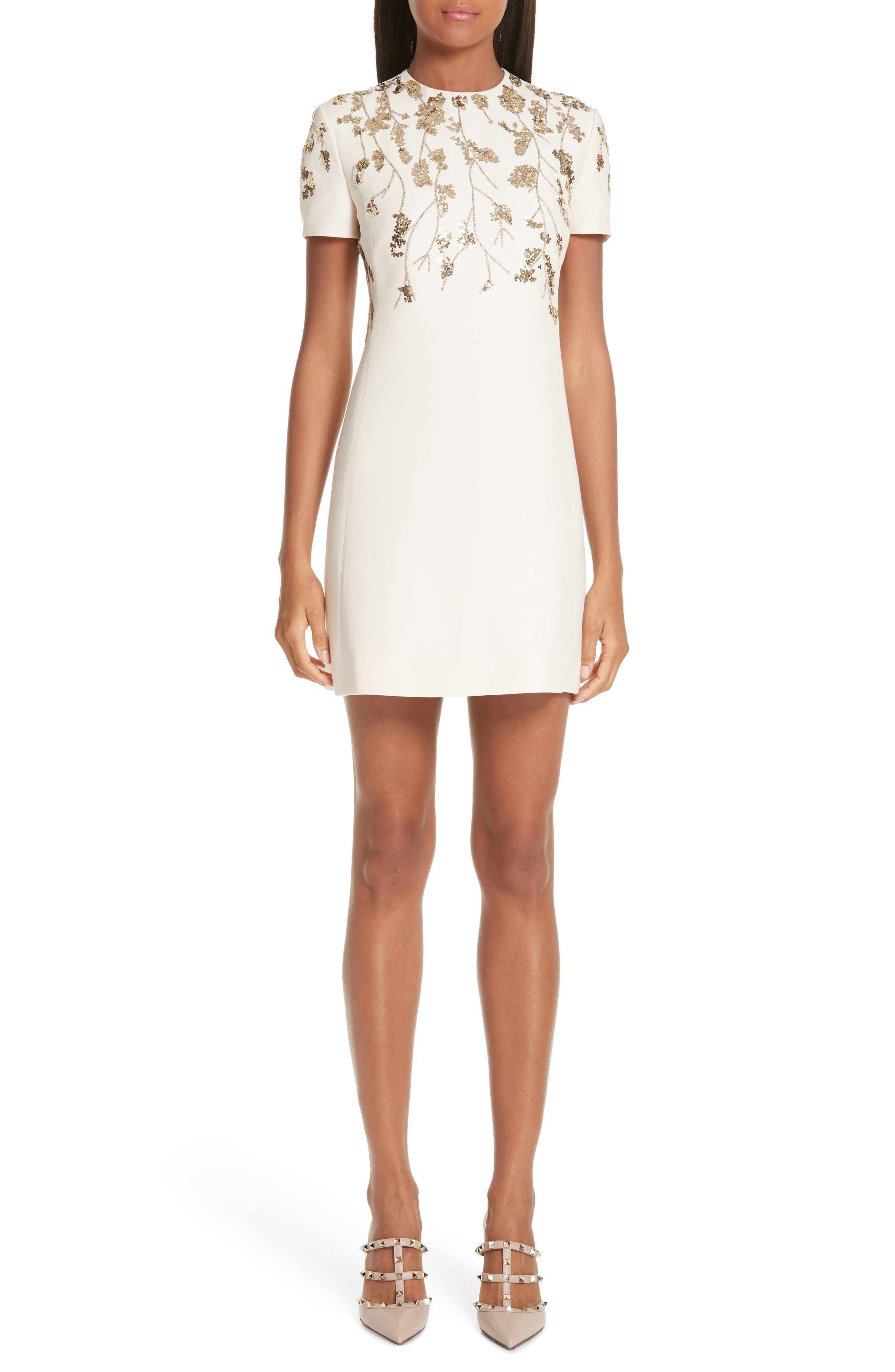 Valentino Floral Embroidered Crepe Couture Dress, Ivory