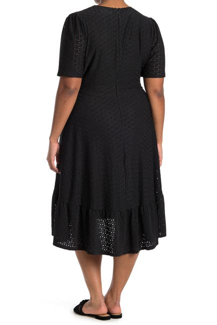 Image of London Times Embroidered Ruffle Wrap Dress