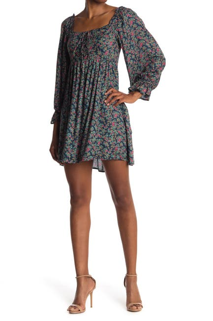 Image of Angie Floral Square Neck Balloon Sleeve Dress