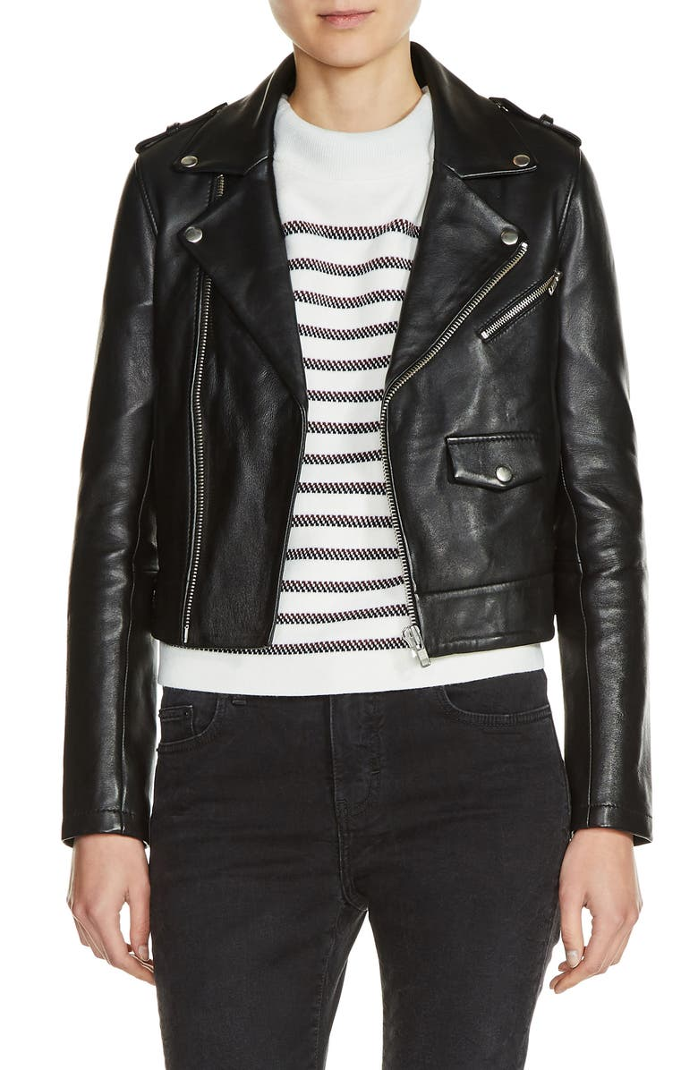 MAJE Lambskin Leather Moto Jacket, Main, color, 001