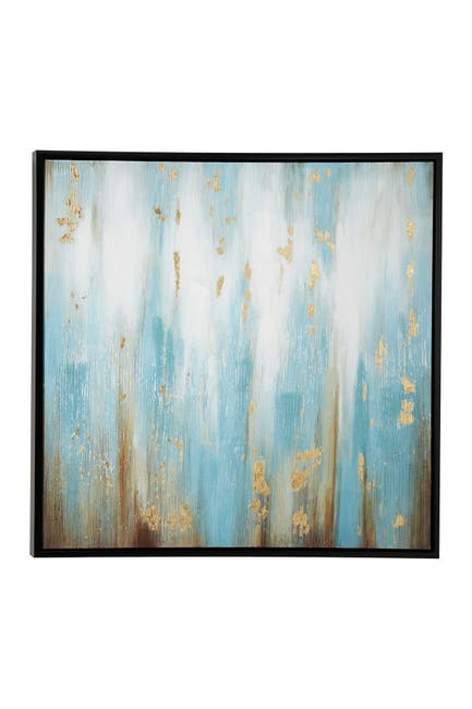 """Image of Willow Row Large Turquoise & Gold Contemporary Abstract Painting In Square Black Wood Frame - 39.5"""" X 39.5"""""""