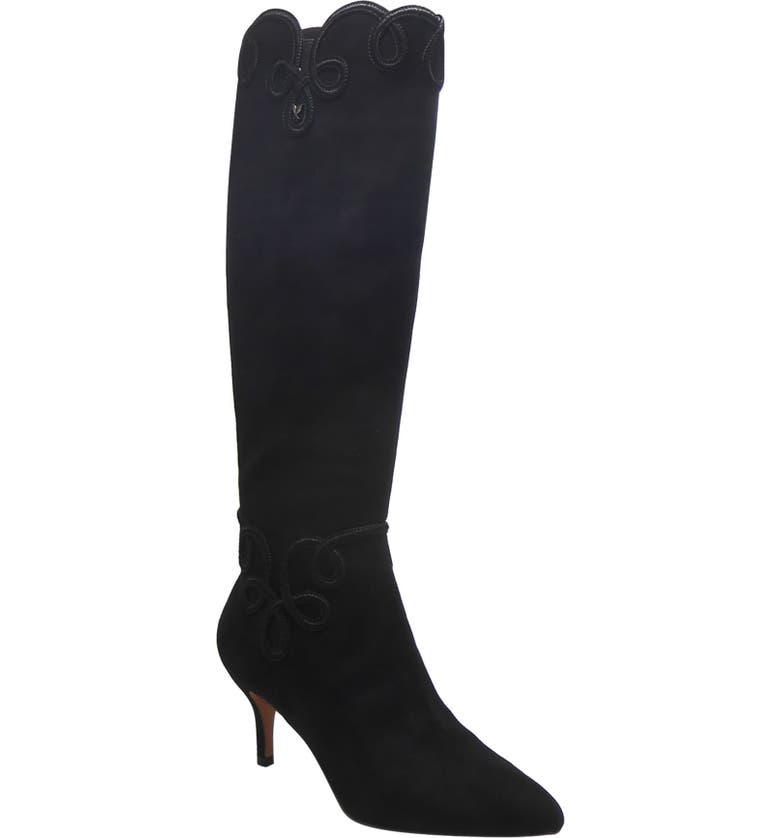 J. RENEÉ Parvani Knee High Boot, Main, color, BLACK FAUX SUEDE FABRIC