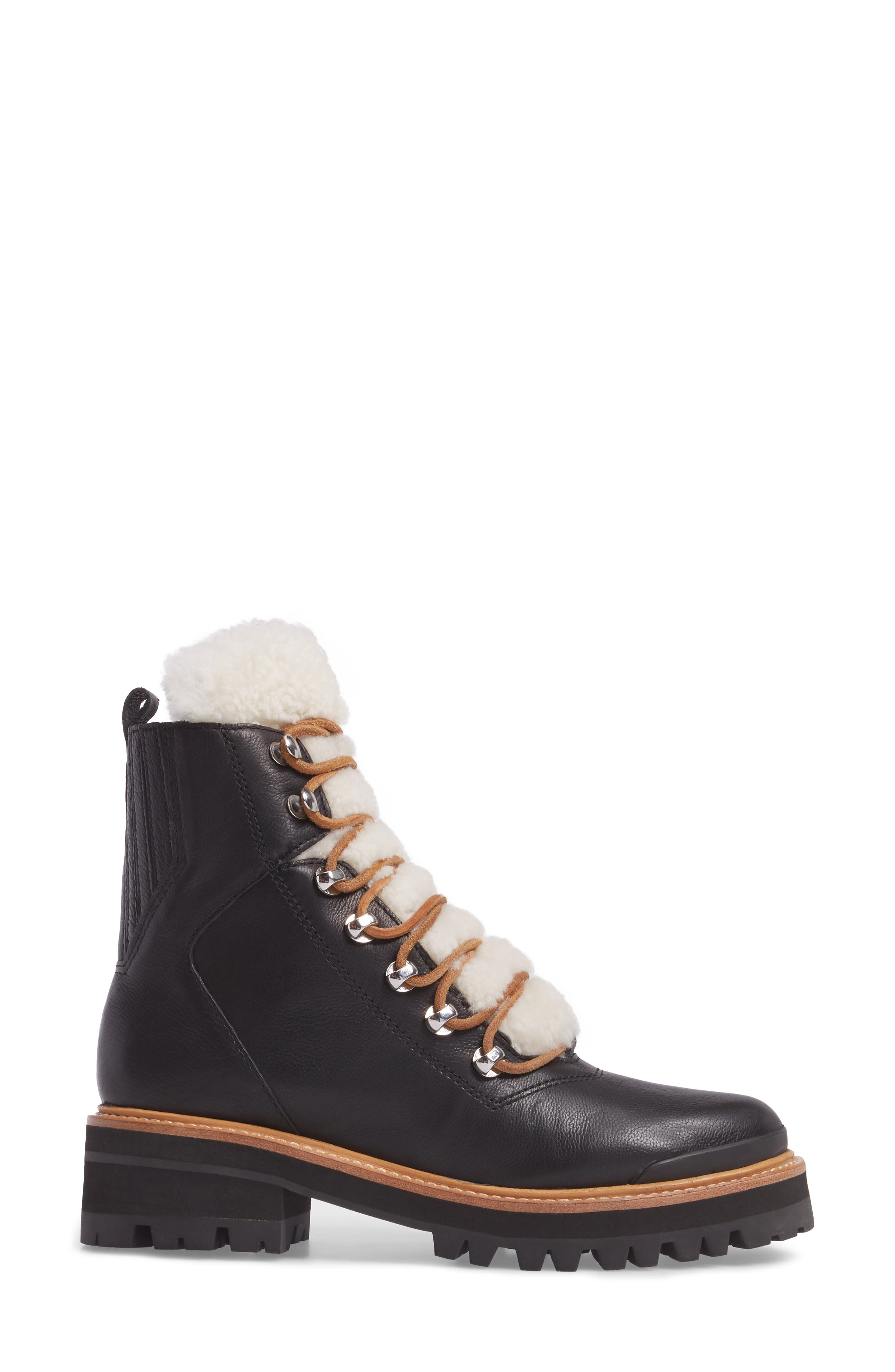 ,                             Izzie Genuine Shearling Lace-Up Boot,                             Alternate thumbnail 3, color,                             BLACK LEATHER