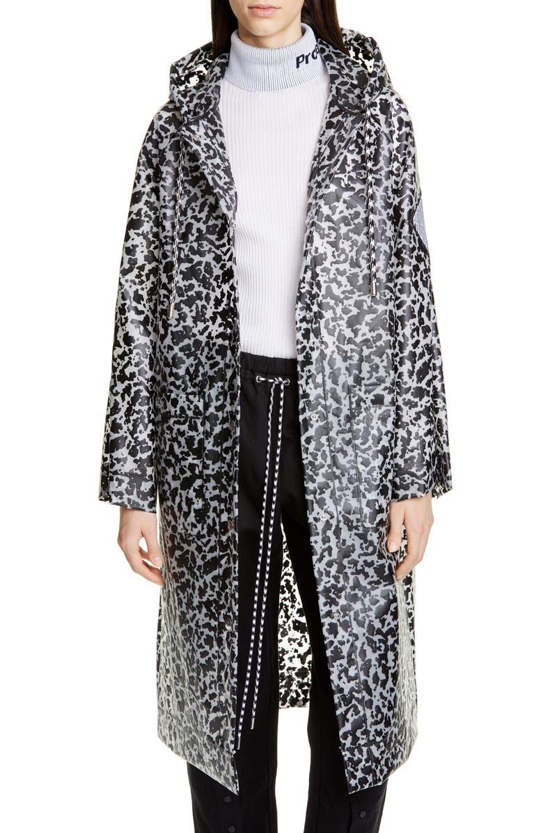 PROENZA SCHOULER WHITE LABEL Proenza Schouler PSWL Marbled Longline Raincoat, Main, color, MILKY WHITE/ BLACK XL NOTEBOOK