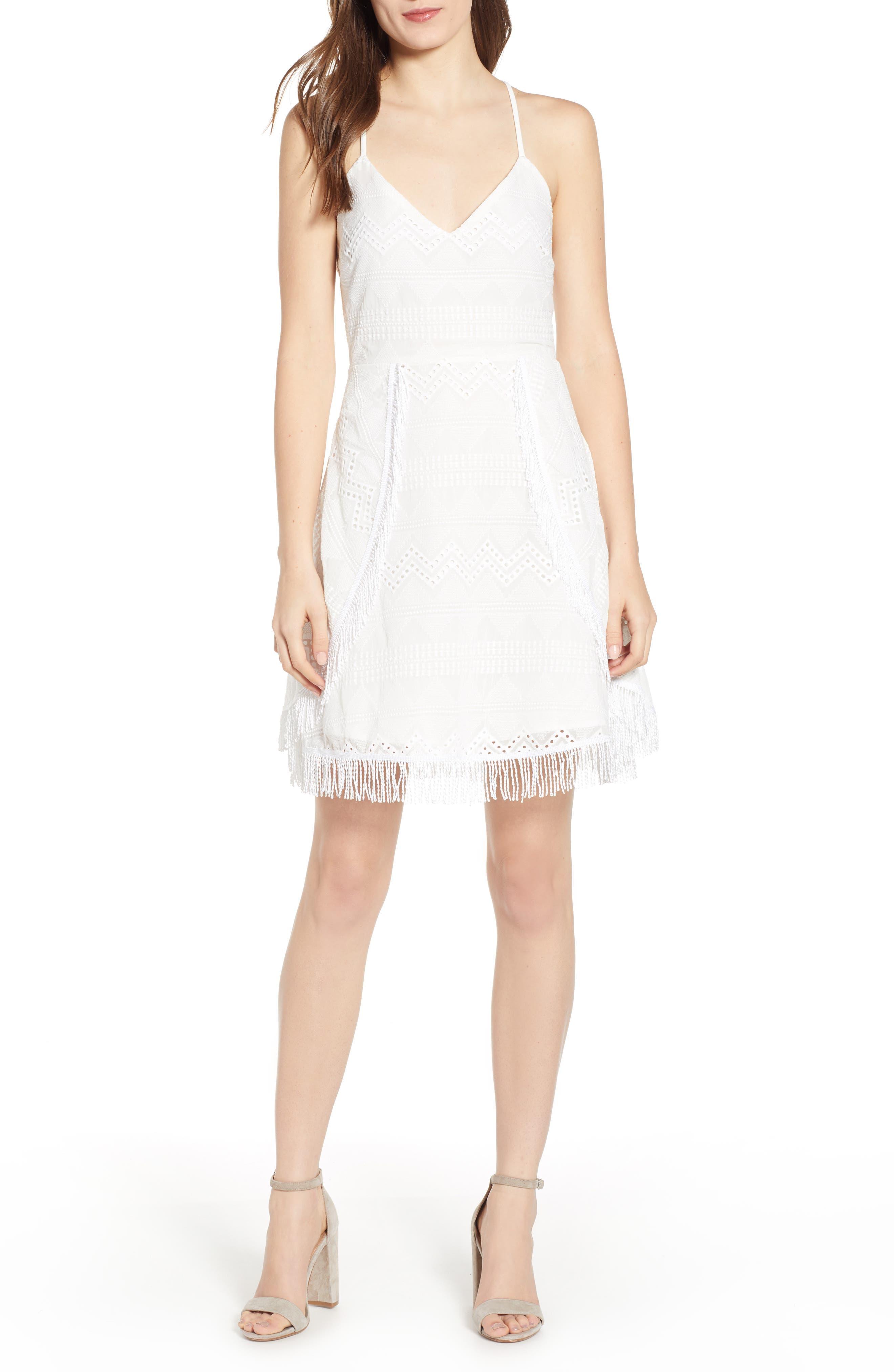 Endless Rose Fringe Hem Strappy Lace Dress, White