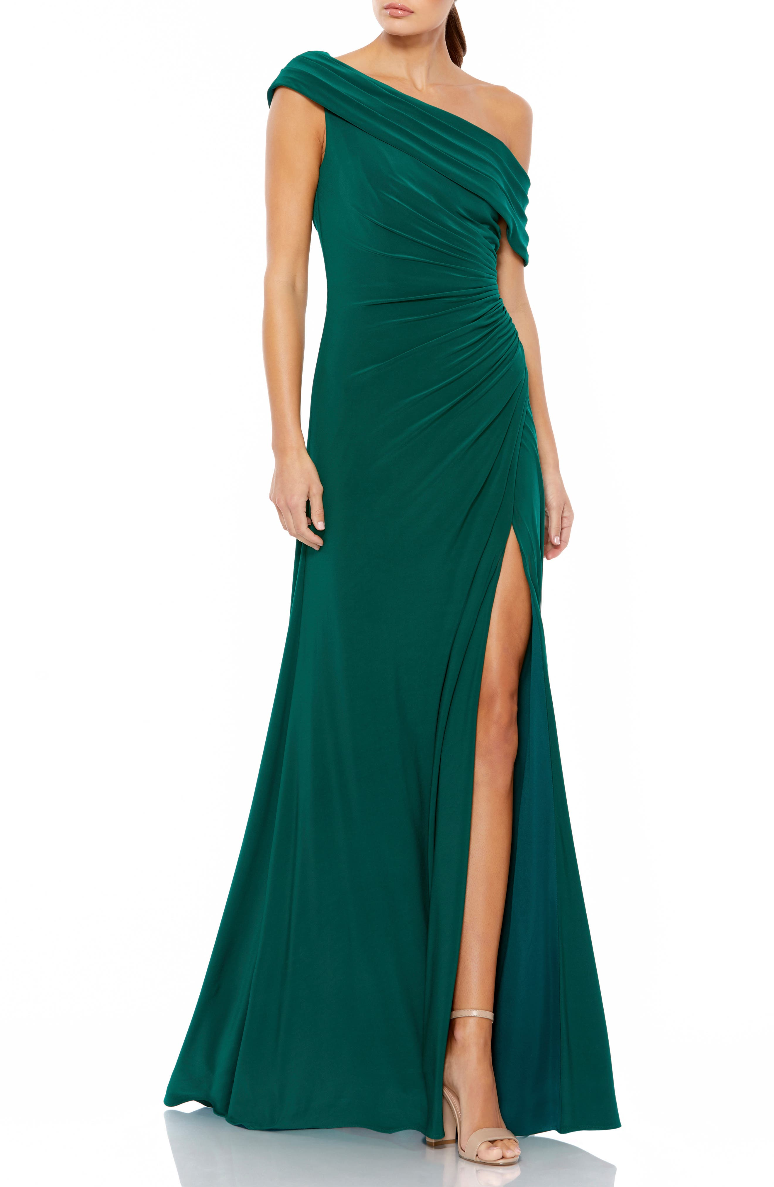 Ruched One-Shoulder Trumpet Gown