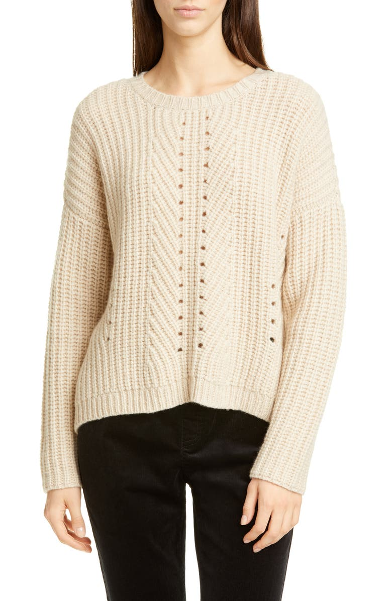 EILEEN FISHER Pointelle Stitch Recycled Cashmere & Wool Sweater, Main, color, 264