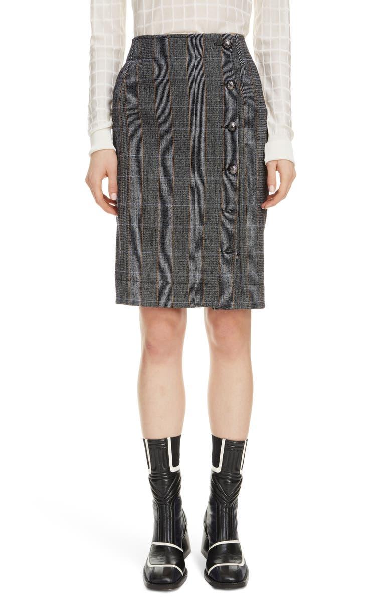 CHLOÉ Plaid Stretch Wool Pencil Skirt, Main, color, MINIMAL GREY