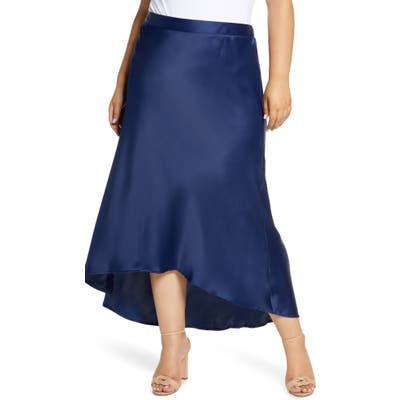 Plus Size Gibson X Fall Refresh Bias Cut Pull-On Skirt, Blue