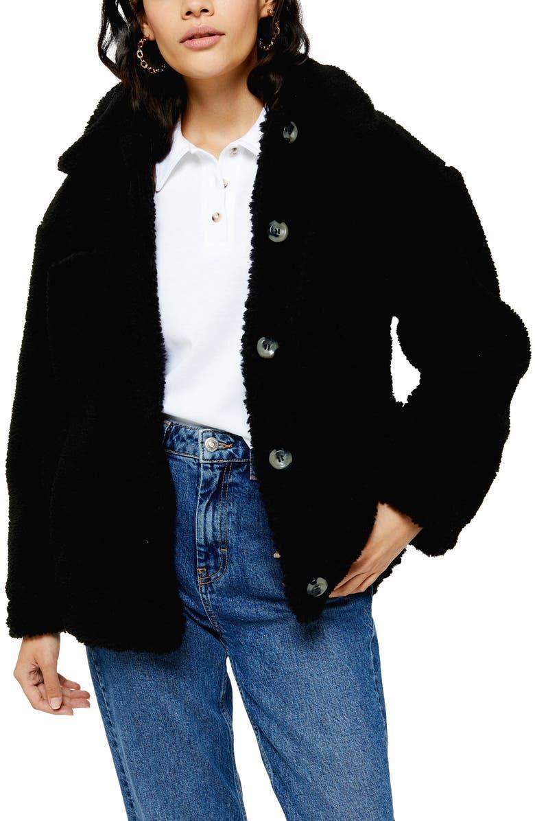 TOPSHOP Fleece Jacket, Main, color, BLACK