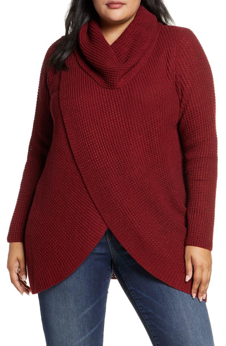 SINGLE THREAD Cowl Neck Sweater, Main, color, CABERNET