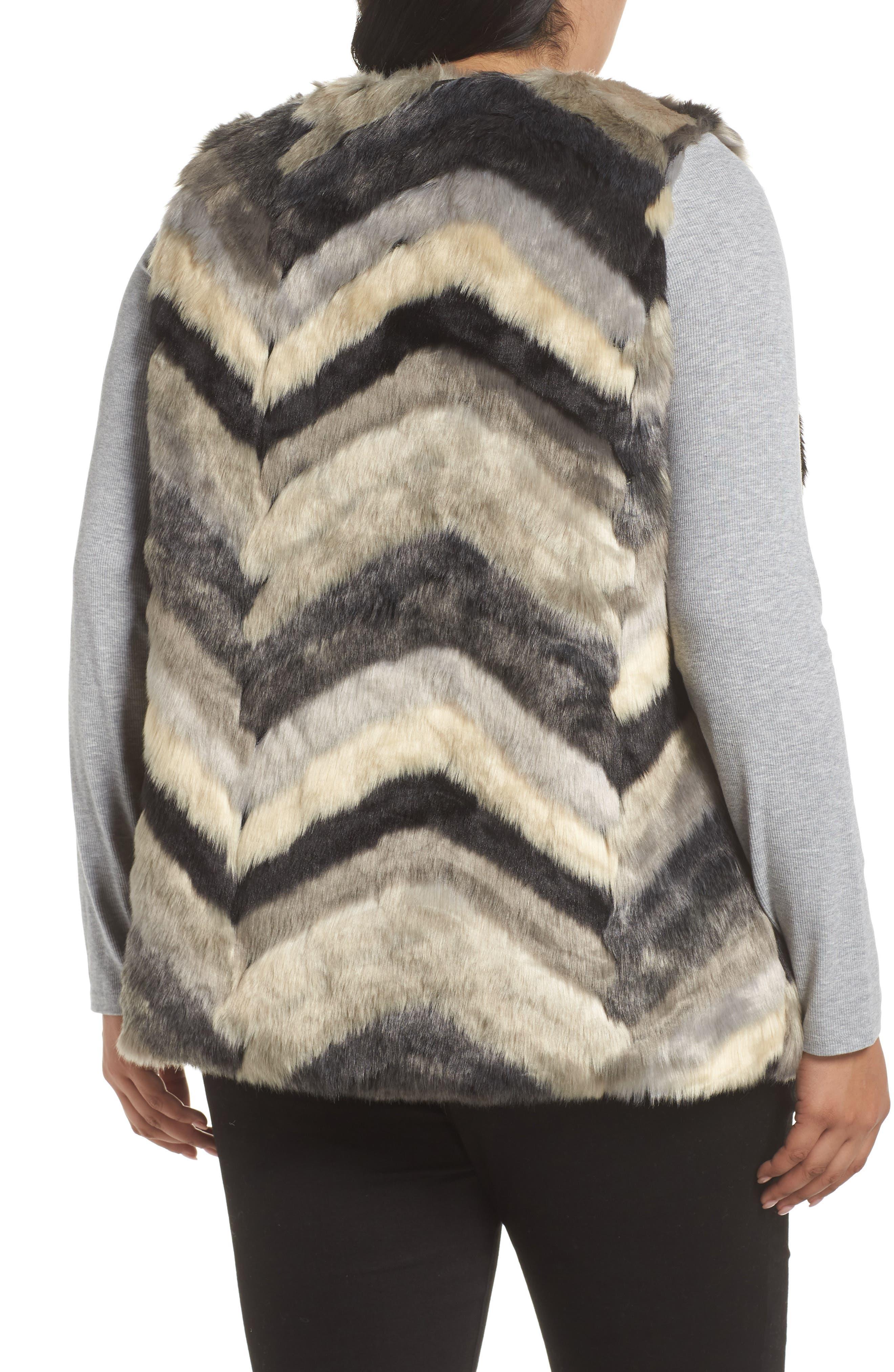 ,                             Chevron Faux Fur Vest,                             Alternate thumbnail 2, color,                             001