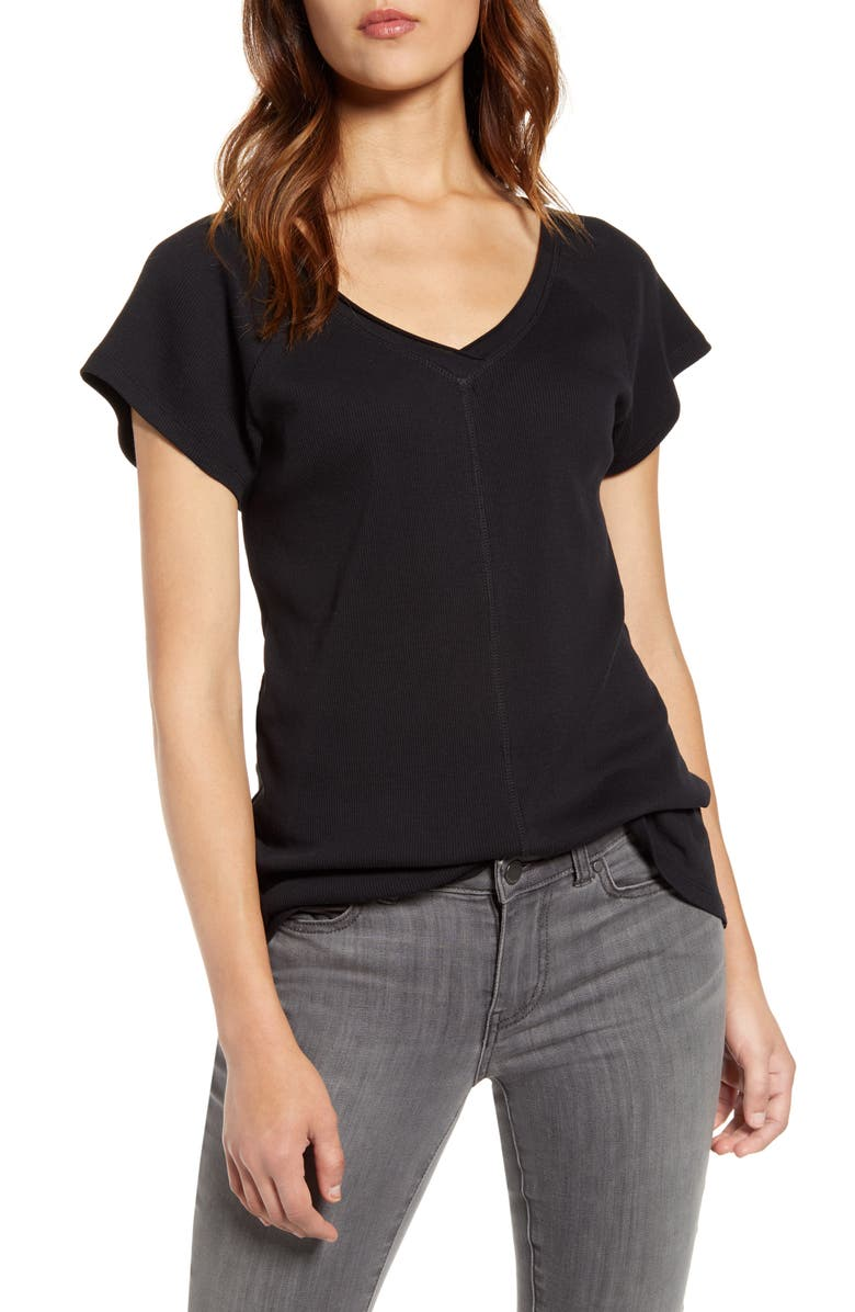 CASLON<SUP>®</SUP> Double V-Neck Ribbed Tee, Main, color, BLACK