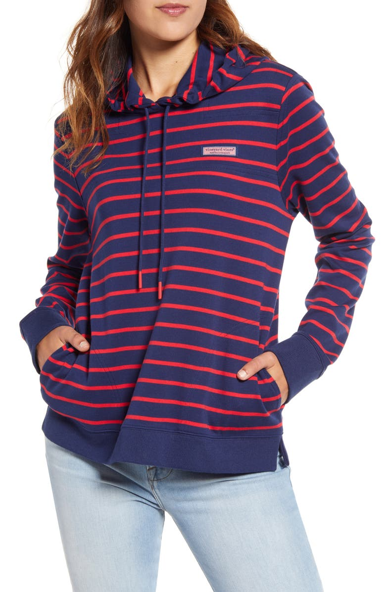 VINEYARD VINES Break Stripe Cotton Shep Hoodie, Main, color, LIGHTHOUSE RED DEEP BAY