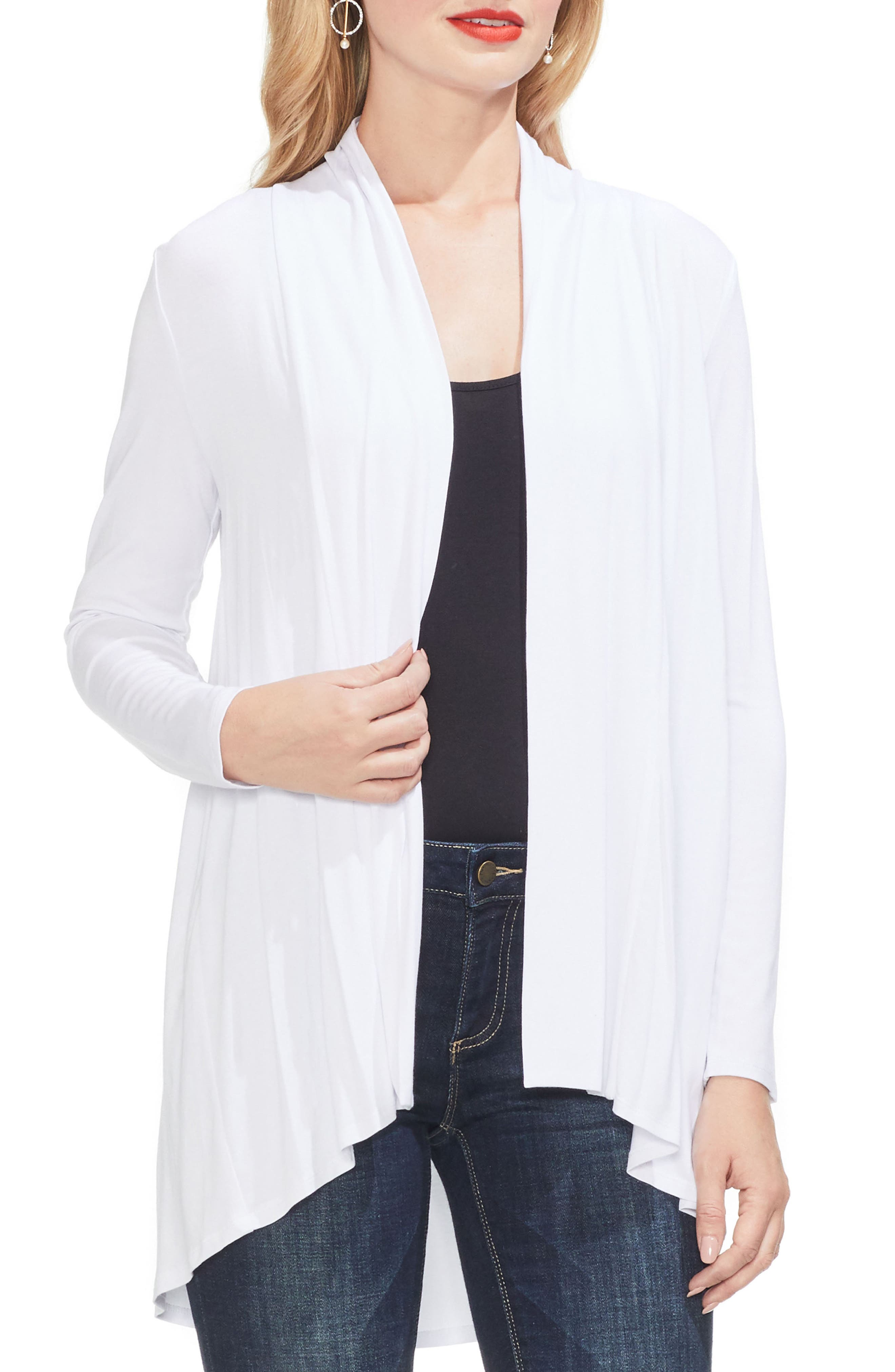 Vince Camuto Open Front Cardigan, White