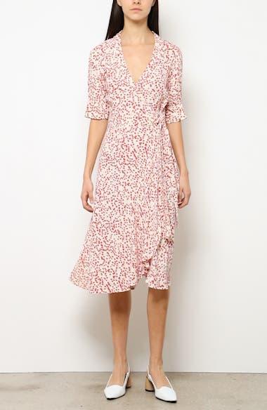 35c825e4e581b Ganni Floral Print Crepe Midi Wrap Dress   Nordstrom