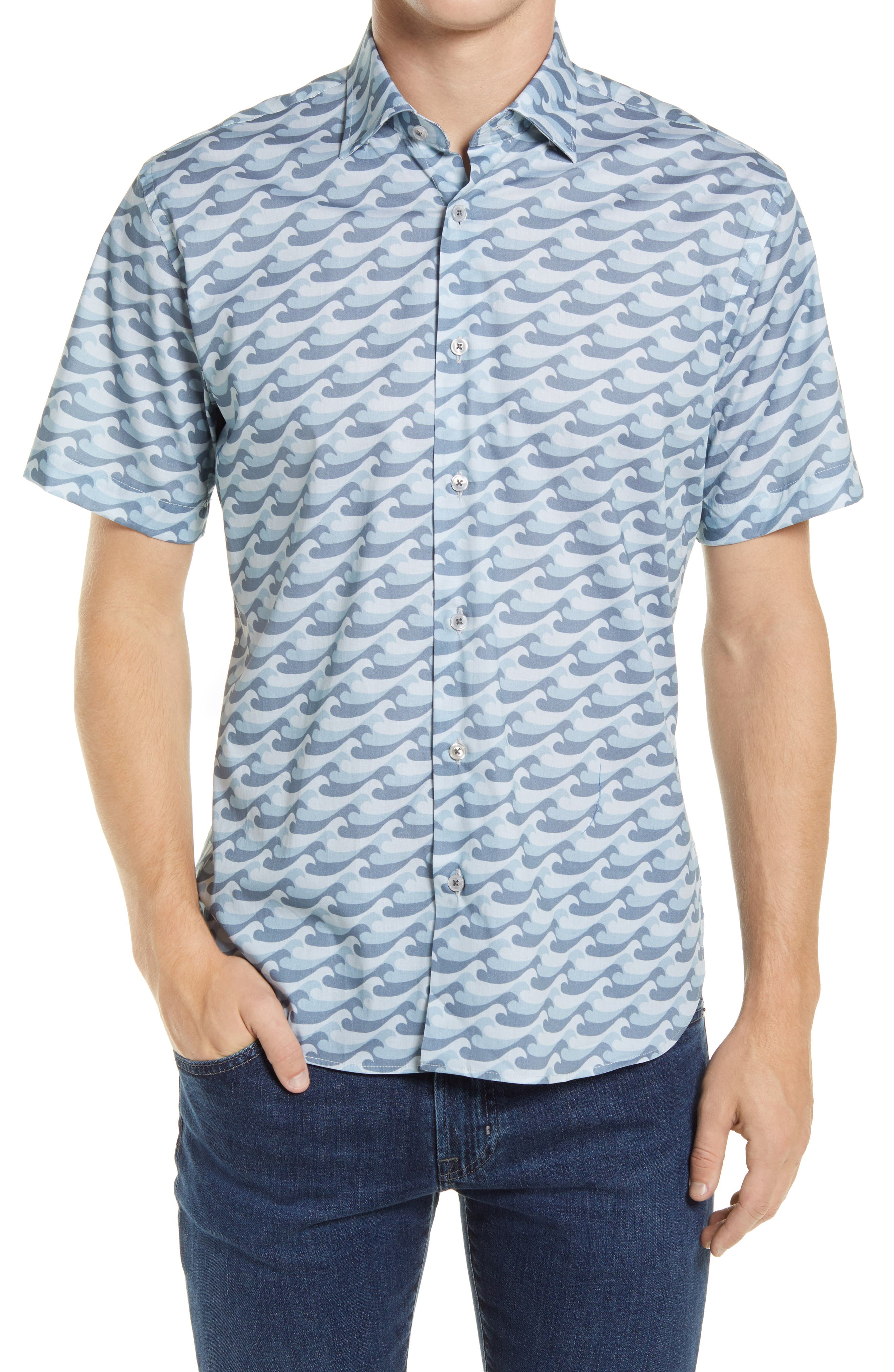 Catch The Wave Short Sleeve Stretch Button-Up Shirt