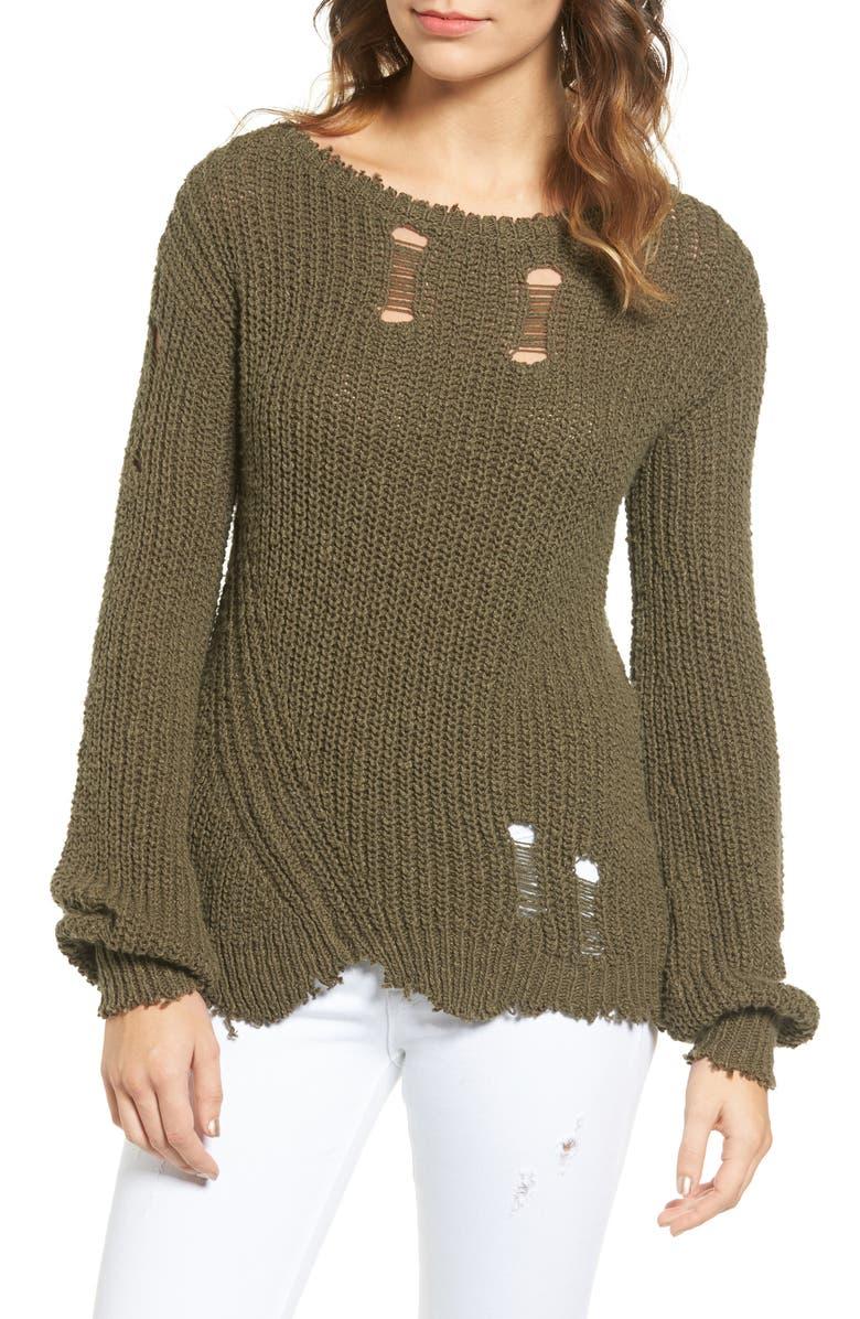 PAM & GELA Shredded Sweater, Main, color, 340