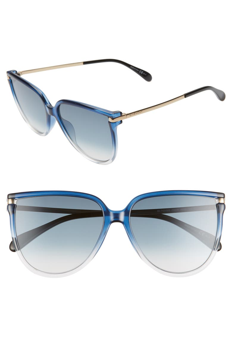 GIVENCHY 58mm Gradient Cat Eye Sunglasses, Main, color, BLUE CRYSTAL