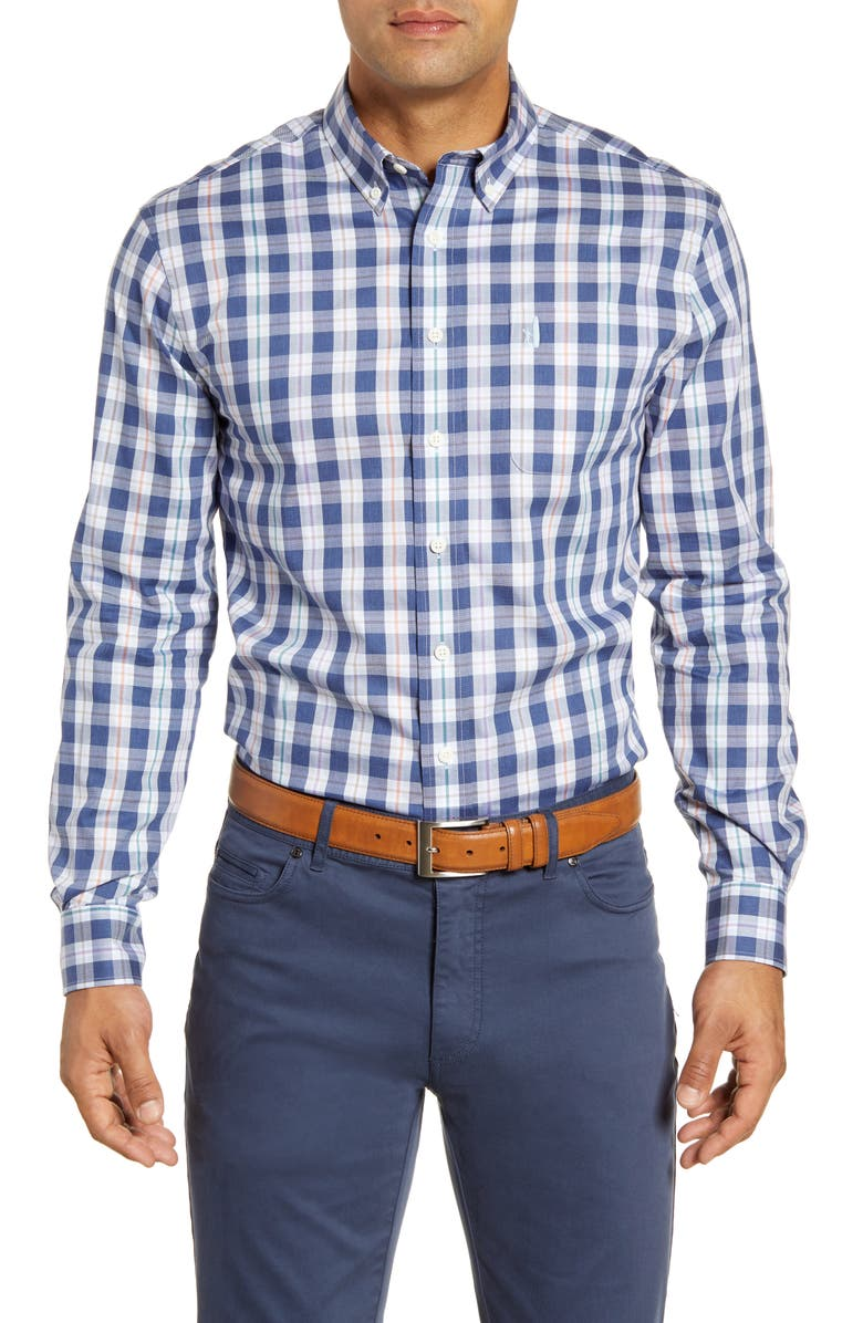JOHNNIE-O Swain Classic Fit Plaid Stretch Cotton Button-Down Sport Shirt, Main, color, WAKE