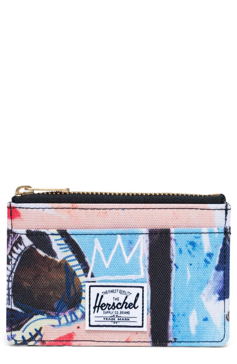 HERSCHEL SUPPLY CO. Basquiat Oscar RFID Zip Card Case, Main, color, BASQUIAT SKULL