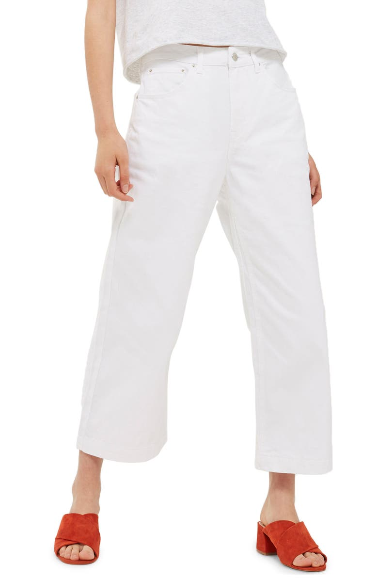 TOPSHOP Cropped Wide Leg Jeans, Main, color, 100