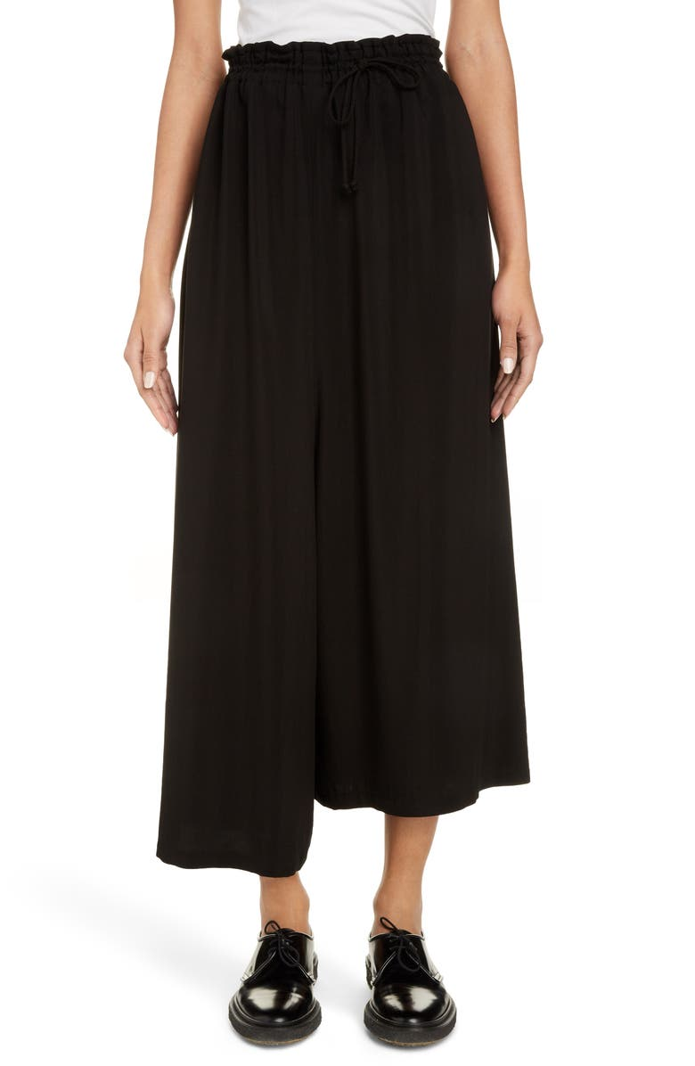 Y'S BY YOHJI YAMAMOTO Asymmetrical Wide Leg Pants, Main, color, BLACK