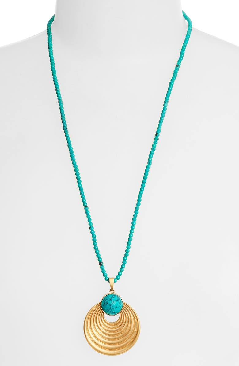 DEAN DAVIDSON Savannah Collection Turquoise Pendant Necklace, Main, color, GOLD/ TURQUOISE