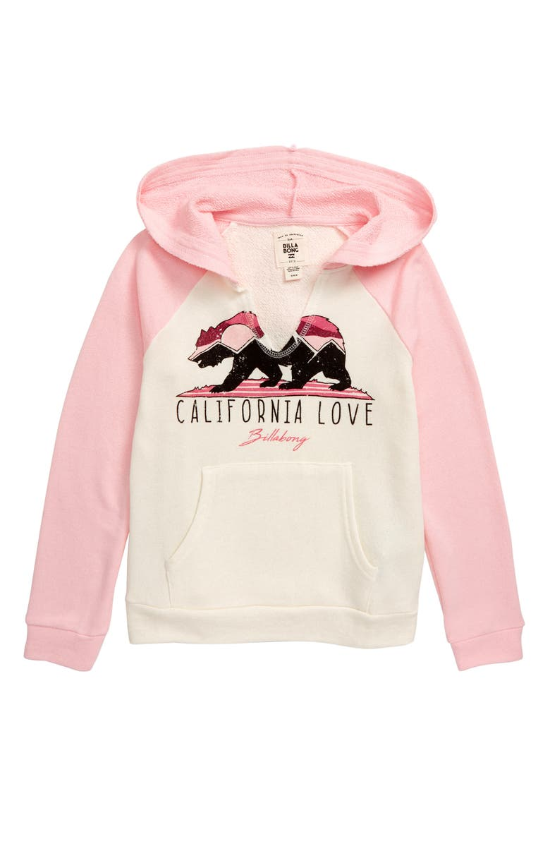BILLABONG Days Off Hooded Pullover Sweatshirt, Main, color, PEACEFUL PINK