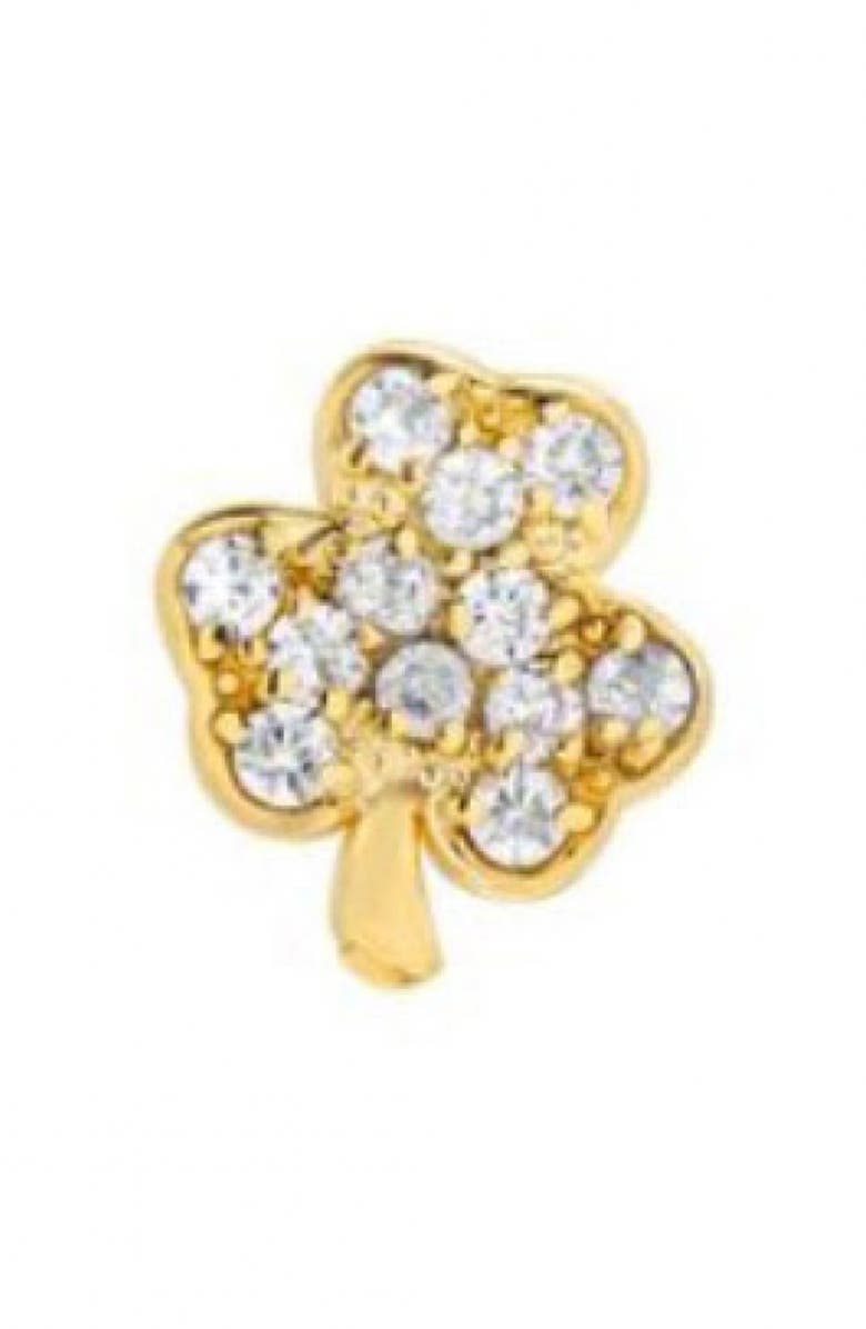MINI MINI JEWELS Diamond Icon Shamrock Earring, Main, color, YELLOW GOLD