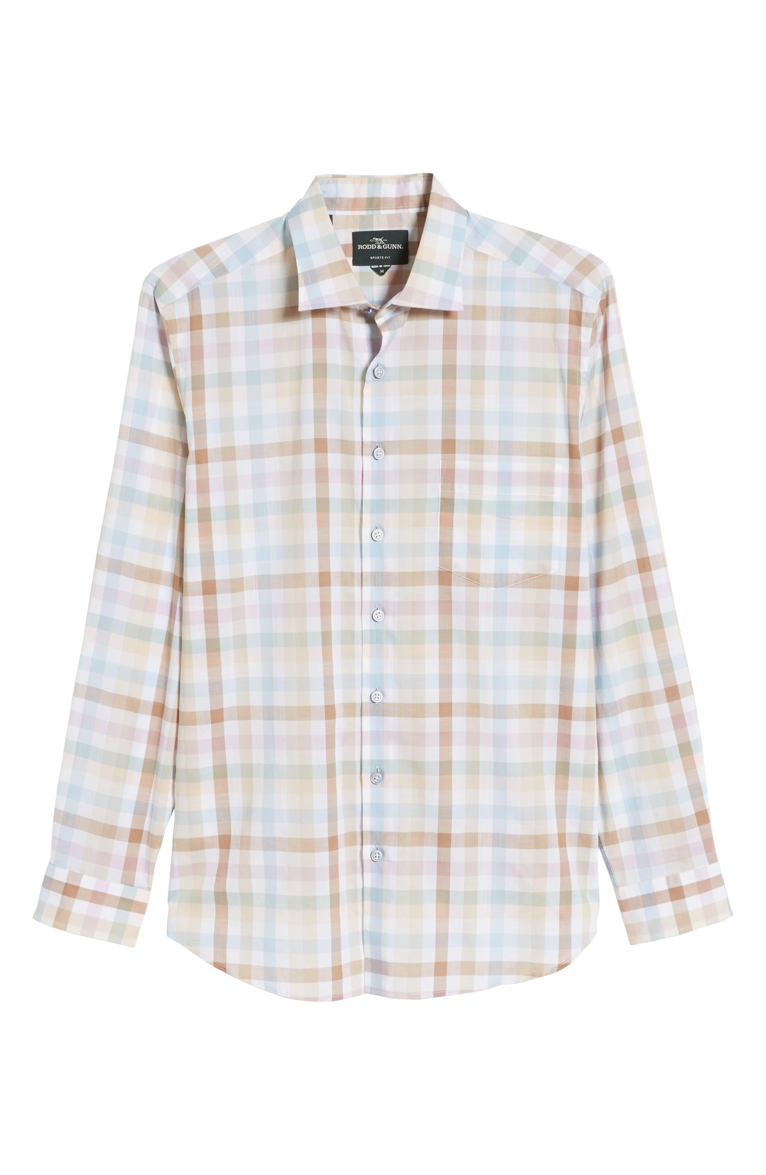 ,                             Collingwood Regular Fit Check Cotton Sport Shirt,                             Alternate thumbnail 5, color,                             WALNUT