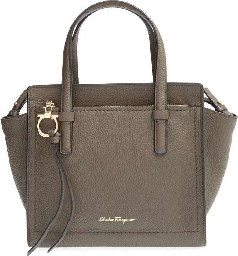 SALVATORE FERRAGAMO 'Mini Amy' Calfskin Leather Tote, Main, color, 020