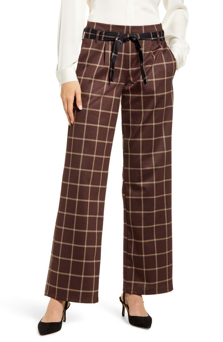 HUE Plaid Belted Wide Leg Pants, Main, color, BROWN