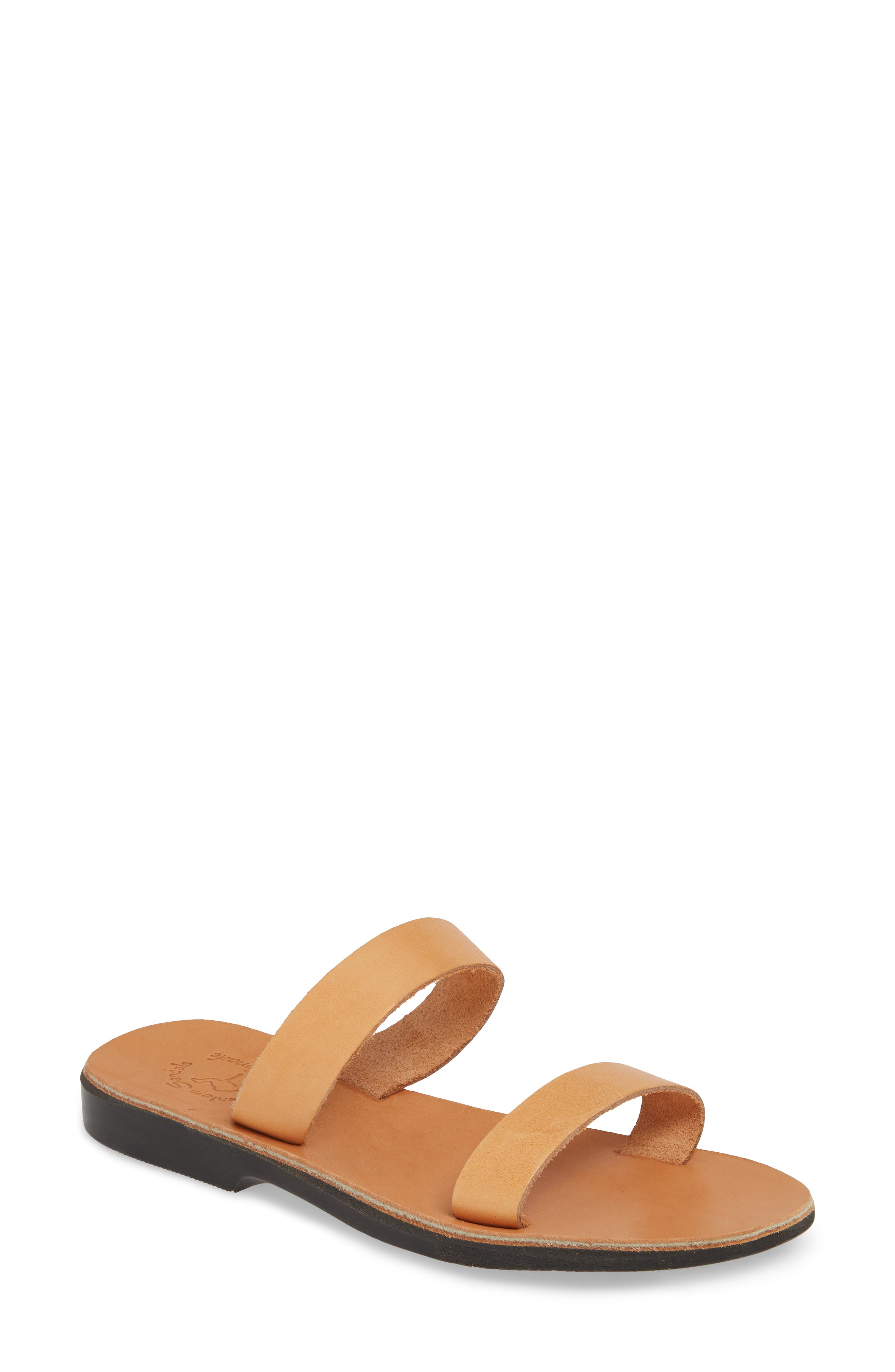 Ultrasmooth leather distinguishes a minimalist slide sandal carefully constructed by Palestinian craftsmen. Style Name: Jerusalem Sandals Ada Slide Sandal (Women). Style Number: 5790594. Available in stores.