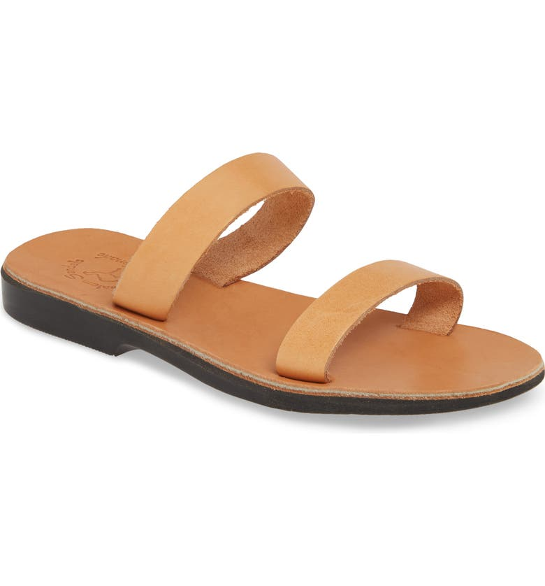 JERUSALEM SANDALS Ada Slide Sandal, Main, color, TAN LEATHER