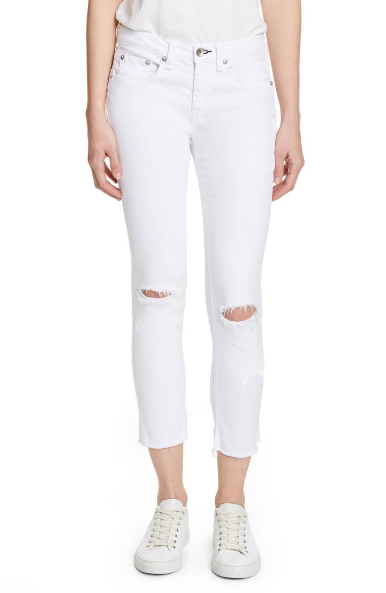 RAG & BONE Dre Ripped Raw Hem Crop Skinny Jeans, Main, color, WHTWHLS2